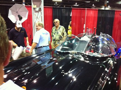 Adam West and Burt Ward by the Batmobile -- Photo credit: Jim Currie