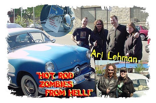 Top: Loren Buchmeier (HOT ROD ZOMBIES FROM HELL! director/producer) Ari Lehman, Greg & Linda || Bottom: Ari Lehman & Branka