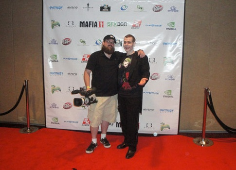 Jim & Gregula on the red carpet at the SFX360 Mafia II Launch Party -- Photo credit: Jim Currie
